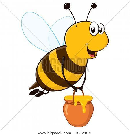 Isolated happy cartoon bee flying around with a brimful jar of delicious honey