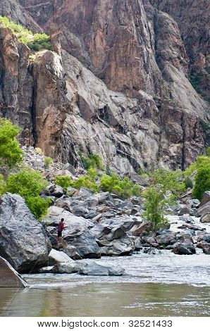 Fishing Gunnison river in the Black Canyon