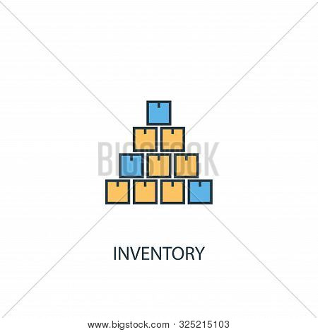 Inventory Concept 2 Colored Line Icon. Simple Yellow And Blue Element Illustration. Inventory Concep