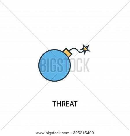 Threat Concept 2 Colored Line Icon. Simple Yellow And Blue Element Illustration. Threat Concept Outl