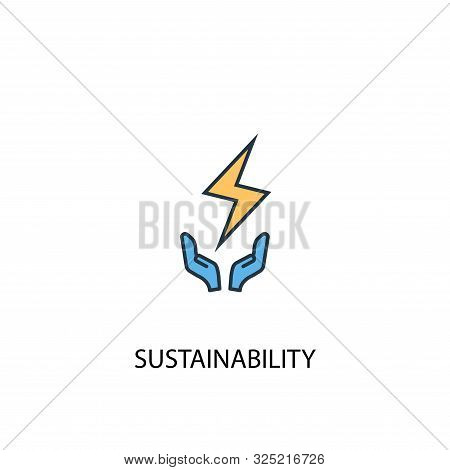 Sustainability Concept 2 Colored Line Icon. Simple Yellow And Blue Element Illustration. Sustainabil