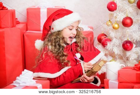 Child Write Letter To Santa Claus. Believe In Miracle. Letter For Santa. Wish List. Child Santa Cost