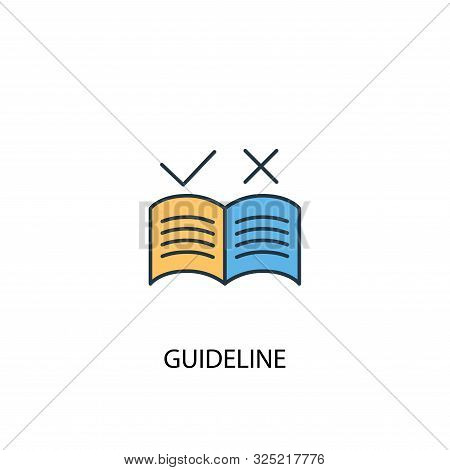 Guideline Concept 2 Colored Line Icon. Simple Yellow And Blue Element Illustration. Guideline Concep