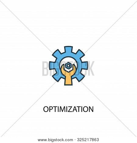 Optimization Concept 2 Colored Line Icon. Simple Yellow And Blue Element Illustration. Optimization