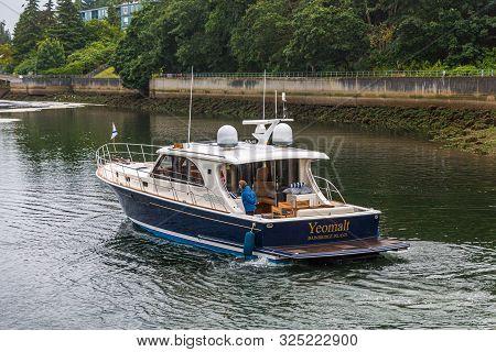 Seattle, Washington - July 2, 2019: The Ballard Locks, Is A Complex Of Locks At The West End Of Salm