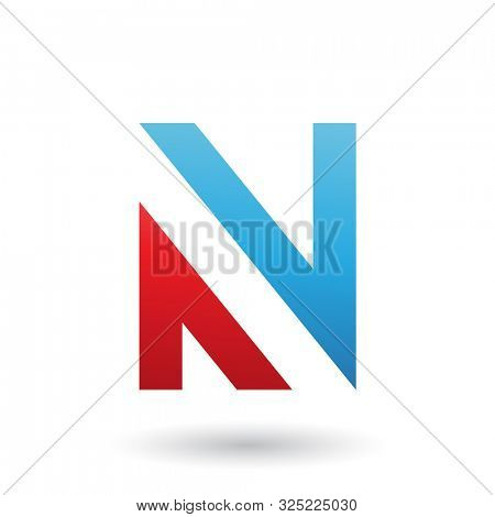 Illustration of Blue and Red V Shaped Icon for Letter N isolated on a White Background