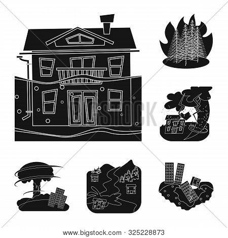 Vector Design Of Calamity And Crash Symbol. Collection Of Calamity And Disaster Stock Vector Illustr