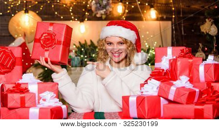 Wrapped Gifts. Happy Smiling Adorable Woman And Bunch Of Gifts Boxes. December Happy Moments. Happin