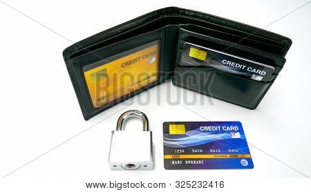 Mockup Credit Card In The Leather Wallet With Security Lock, The Popular Payment Method With Plastic