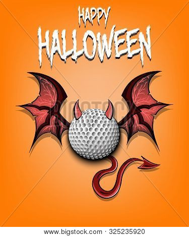 Happy Halloween. Devil Golf Ball. Golf Ball With Horns, Wings And Devil Tail. Design Pattern For Ban