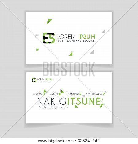 Simple Business Card With Initial Letter Es Rounded Edges With Green Accents As Decoration.