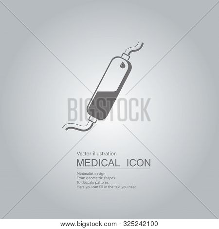 Vector Drawn Infusion Tube Icon. Isolated On Grey Background.