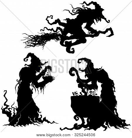 Illustration Fantasy Grotesque Witch Women Silhouettes Set