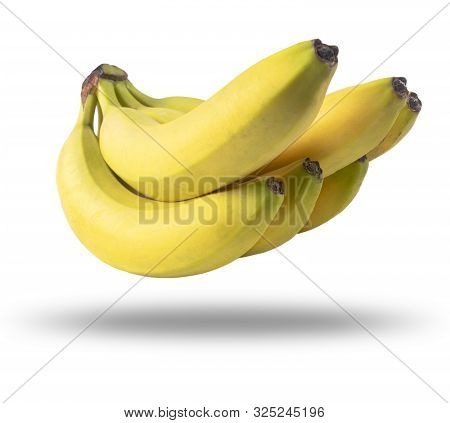 Isolated Bananas. Bunch Of Bananas Fruit Isolated On White Background. Ripe Bananas With Clipping Pa