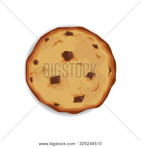 Chocolate Chip Cookie. Unhealthy Diet. Vector Illustration Isolated Cookie