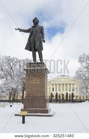 Saint-petersburg, Russia - March 20, 2018: Monument Statue To Aleksander Pushkin On Square Of Arts N