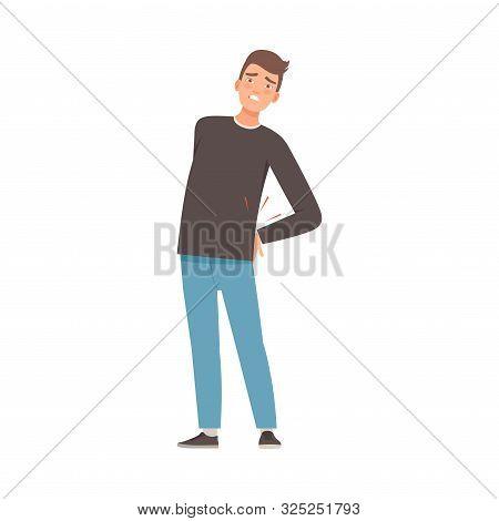 Brunette Man Holds On To A Sore Lower Back. Vector Illustration.