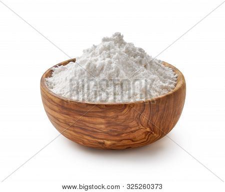 Olive Bowl With Flour. Rice Or Wheat Flour Isolated On White Background.