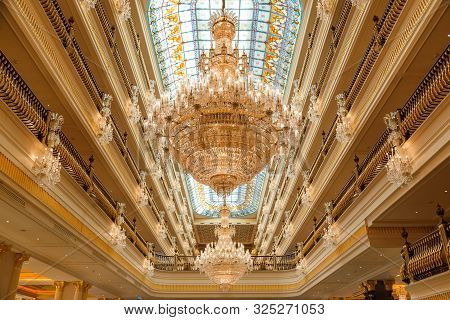 Antalya, Turkey - September 12, 2019: Chandeliers In Mardan Palace Luxury Hotel, The Most Expensive