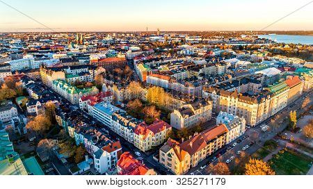 Aerial View Of Beautiful City Helsinki At Sunset Time. Blue Sky And Clouds And Colorful Buildings. H