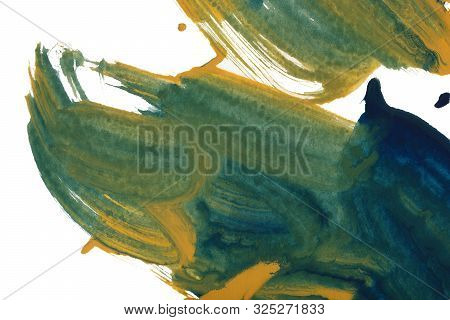 Mixed Colors Watercolor Texture Background. Hand Drawn Green, Blue, Emerald And Ocher Smears, Splash