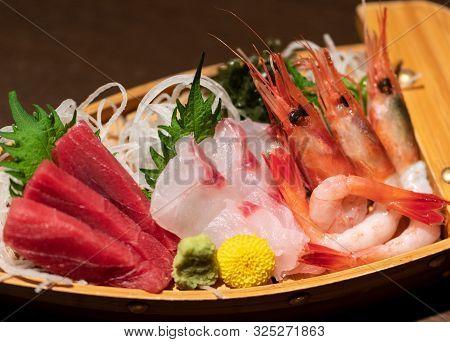 Assorted Sashimi Platter. Sashimi Is Fillet Of Raw Fish.