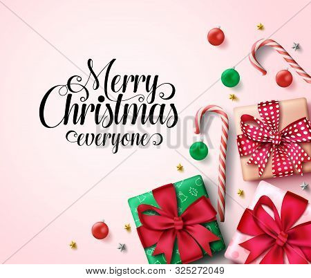 Christmas Vector Background Template. Merry Christmas Everyone Greeting Text In Empty Space For Mess