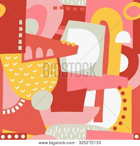 Seamless Pattern Abstract Shapes Collage Vector Pink Yellow Red. Modern Geometric Background Feminin