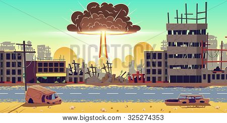 Nuclear Bomb Explosion In Ruined City. Fiery Mushroom, Cloud Of Atomic Bomb Detonation Raising Under