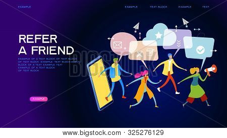 Referral Marketing. Promotion Method. Refer A Friend Loyalty Program. A Group Of People Come Out Of