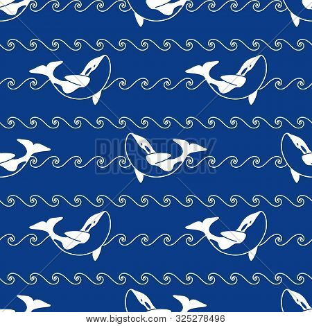 Seamless Abstract Pattern. White Outline Orca Whale And Line Waves On Blue Background. Killer Whale