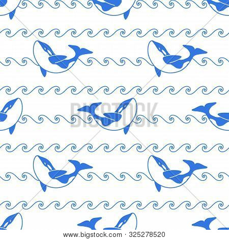 Seamless Abstract Pattern. Blue Outline Orca Whale And Line Waves On White Background. Killer Whale