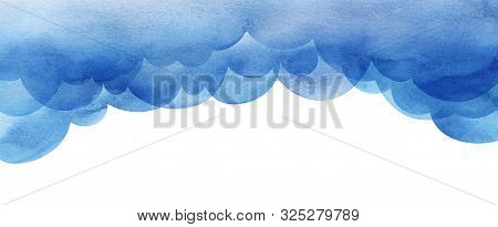 Cartoon Sky Of Blue Cumulus Clouds. Illustration. Collage Of Watercolor Gradient Fill. Abstract Sky.