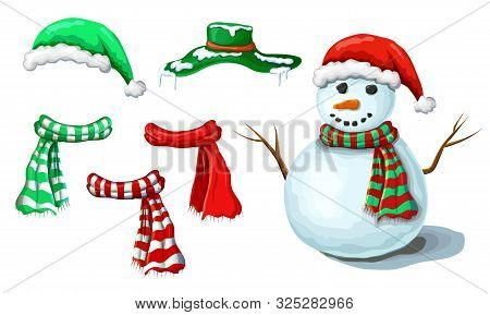 Christmas Snowman Illustration With Various Accessory Isolated On White Background. Cute Smiling Sno