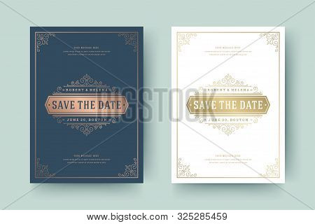 Wedding Invitation Save The Date Card Golden Flourishes Ornaments Vignette Swirls Vector Template.