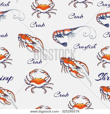 Seamless Vector Seafood Pattern On Gentle Gray Backdrop. Hand Drawn Engraved Seafood Background. Vin