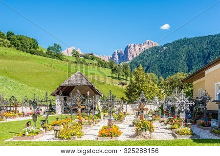 Tiers,italy - September 4,2019 - View At The Cemetery In Tiers Village. Tiers Is A Comune In The Pro