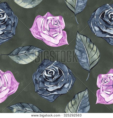 Hand Drawn Roses, Mimicking Folk Embroidery Stitches, On Dark Blue Background Floral  Seamless Patte