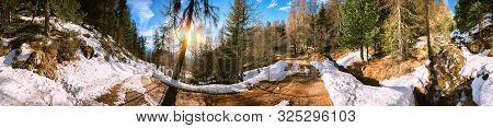 Panoramic View Of Mountain Road, Alps Switzerland. Winter Nature Background