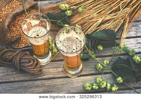 Fresh Cold Beer Glasses In Rustic Setting. Drinks Background