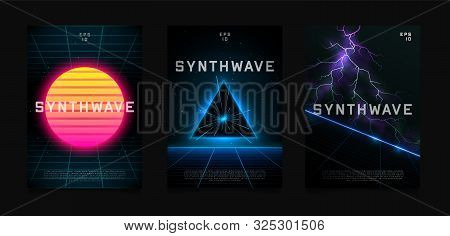 Synthwave Flyer Design. Retrowave Sun On Starry Space Background With Laser Grid. Triangle Blue Neon