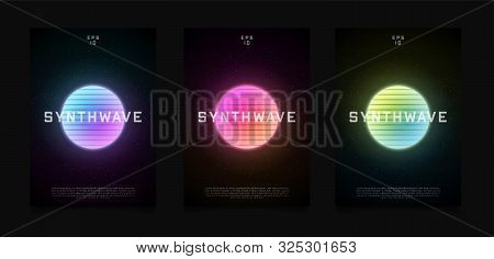 Synthwave Templates Flyer Design. Retrowave Style Striped Sun With Colorful Glowing In Starry Space.