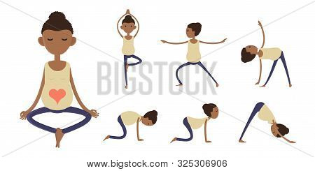 Afro American Pregnant Woman Doing Yoga, Prenatal Yoga, Vector Illustration