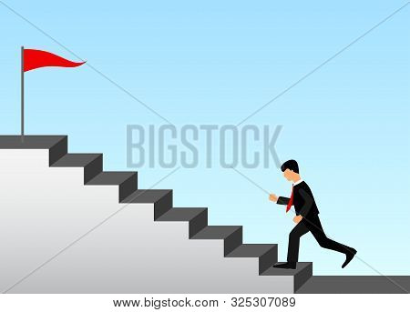Business Success Concept. Businessman In Black Suit And Red Necktie Running Up Stairs. At The Top Of
