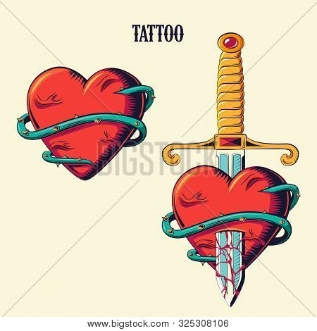 Tattoo Roses And Heart Set. Isolated Tattoo. Old School Tattooing Style