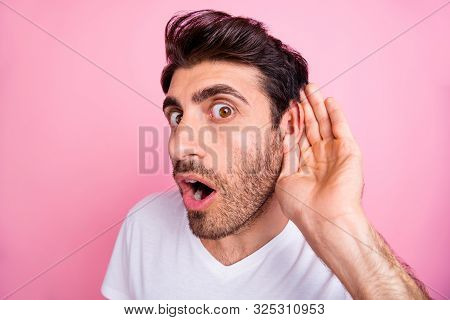 Close Up Photo Of Impressed Funny Funky Middle Eastern Man Hold Hand Near Ear Listen Hear Cant Belie