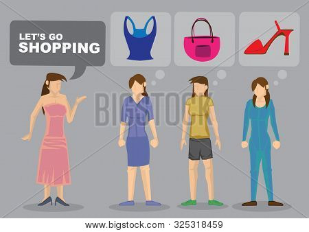 Cartoon Woman Suggest Going Shopping And Others Are Thinking Of Items To Buy. Vector Illustration.