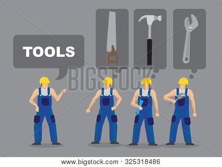 Cartoon Man Demand For A Tool And Others Are Unsure What He Is Asking For. Vector Illustration For A