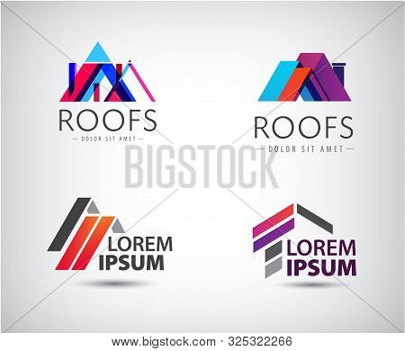 Vector Roof Logo, House Building, Real Estate Colorful Icon. 3d Origami Style