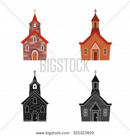 Vector Illustration Of Cult And Temple Sign. Collection Of Cult And Parish Stock Symbol For Web.